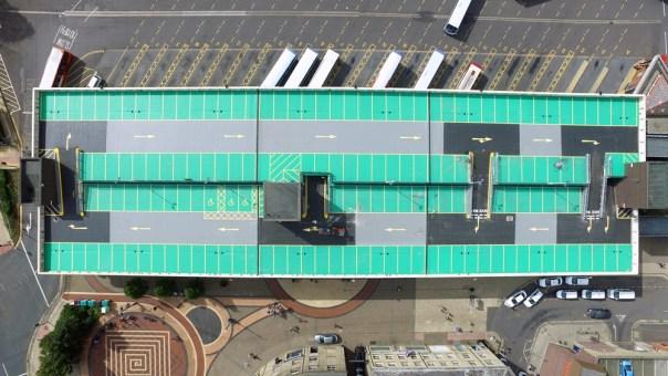 Horizontal view of bus station car park